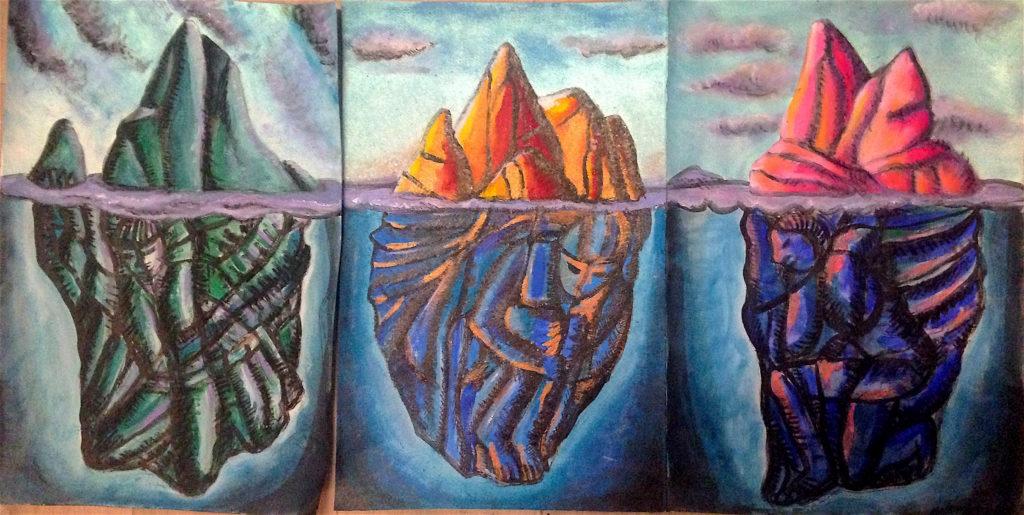paysage triptyque acrylique-90 x 50 cm